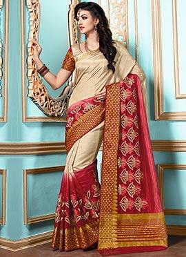 Beige N Red Kancheepuram Art Silk Saree