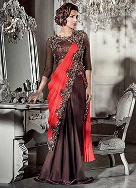 Brown Priyanka Chopra Saree Gown