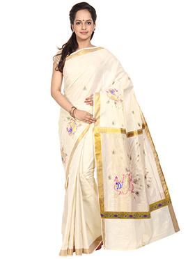 Gold N Off White Cotton Saree