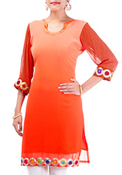Alluring Orange Georgette Kurti