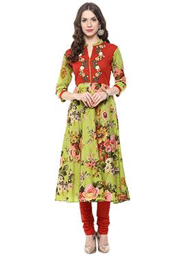 Multicolored Shakumbhari Anarkali Suit