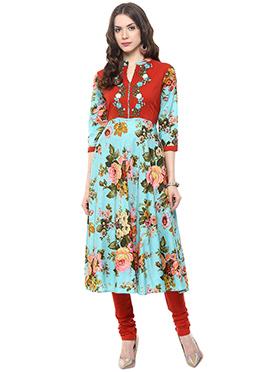 Multicolored Shakumbhari Printed Anarkali Suit