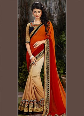 Orange Beige N Red Half N Half Saree