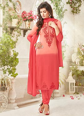 Peach Churidar Suit