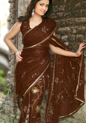 Unique Brown Ready Stitched Blouse Saree