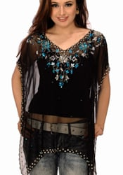 Floral Embroidered Black Georgette Kaftan