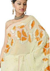 Dark Cream Party Wear Saree
