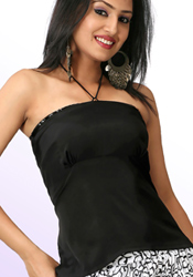 Halter Neck Empire Cut Black Top