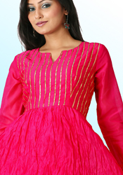 Deep Pink Kota Silk Trendy Top