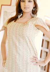 Polka Dots Enriched Cream Kurti