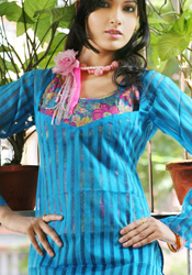 Self Striped Full Sleeve Blue Kurti