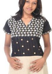 Beige And Black Embroidered Cotton Kurti
