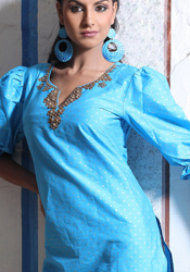 Buttis Enhanced Blue Dupion Kurti