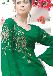 Butterfly Motif Adorned Peacock Green Kurti