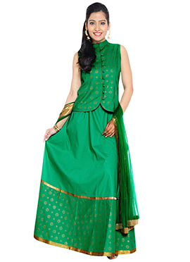 9rasa Green Cotton Long Choli Lehenga