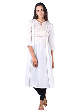 9rasa Off-White Cotton Gathered kurti