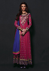 Alluring Pink Georgette Anarkali Suit