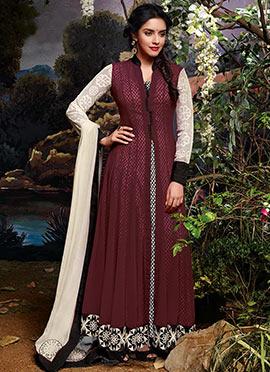 Asin Wine Printed Anarkali Suit