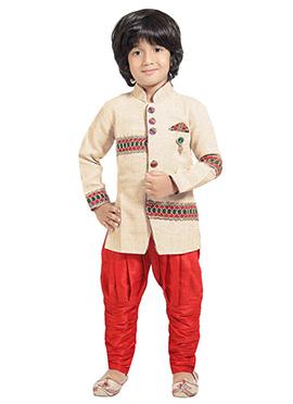 Beige Boys Indowestern Sherwani