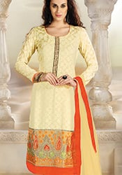 Cream Chanderi Jacquard Churidar Suit