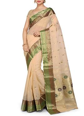 Beige Cotton Decorative Designed Saree