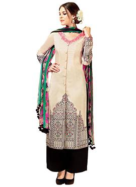Beige Cotton Satin Palazzo Suit