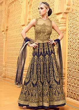 Beige N Indigo Blue Floor Length Anarkali Suit