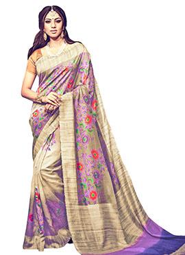 Beige N Purple Bhagalpuri Silk Saree