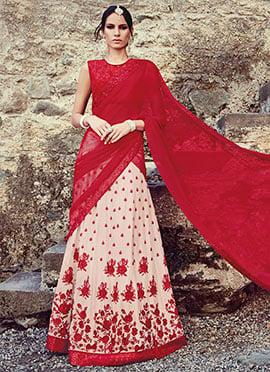 Beige N Red Embroidered Lehenga Choli