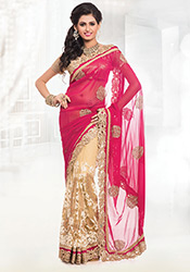 Beige N Reddish Pink Half N Half Saree