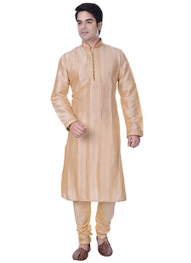 Beige Striped Art Silk Kurta Pyjama