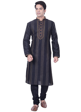 Black Embroidered Striped Kurta Pyjama