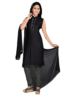 Black Viscose Churidar Suit