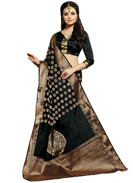 Black Zari Weaving Circular Patterned Saree