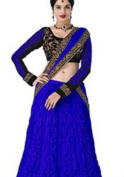 Blue Net Lehenga Convertible Anarkali Suit