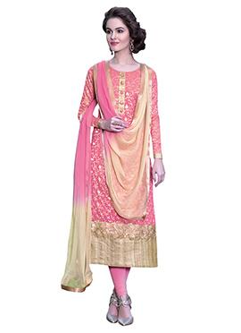 Brink Pink Handloom Cotton Straight Suit