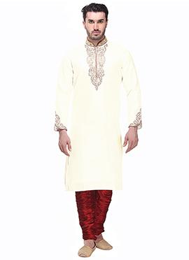 Brocade Off White Kurta Pyjama