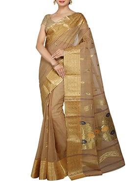 Brown Cotton Decorative Designed Saree