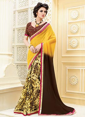 Brown N Yellow Half N Half Saree