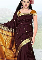 Burgundy Art Silk Saree