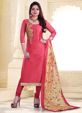 Cerise Pink Cotton Straight Suit