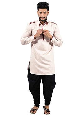 Cream Art Silk Pathani Suit