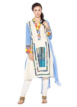 Cream Cotton Printed Churidar Suit