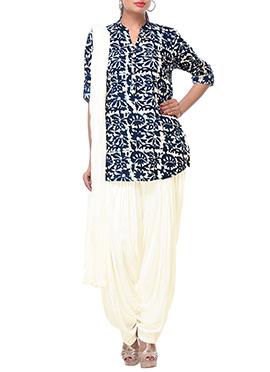 Cream N Blue Cotton Patiala Suit