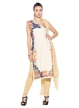 Cream Printed Cotton Churidar Suit