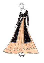 DIY Black Alia Bhatt Velvet Long Choli Lehenga