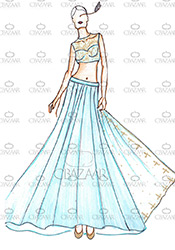 DIY Blue Jacqueline Fernandez Lehenga Choli