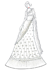 DIY Madhuri Dixit Off-white Lehenga Choli