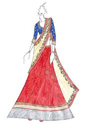 DIY Madhuri Dixit Red Brocade Lehenga Choli