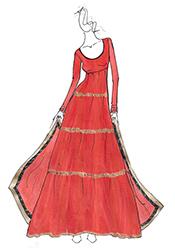 DIY Red Net Aishwariya Rai Anarkali Suit